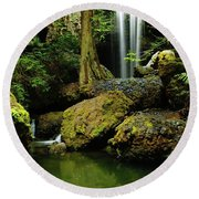 Devil Creek Falls  Round Beach Towel