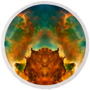 Devil Nebula Round Beach Towel