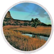 Devils Tower Daybreak Round Beach Towel