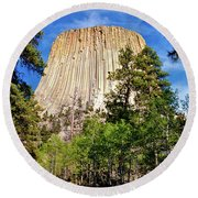 Devil's Tower Through The Trees Round Beach Towel