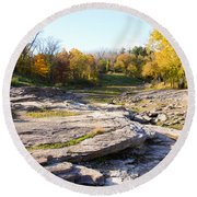 Devonian Fossil Gorge Coralville Lake Ia 3 Round Beach Towel
