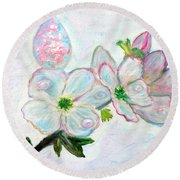 Dew And Smell Of Almond Flowers Round Beach Towel