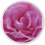 Dew Kissed Rose Round Beach Towel