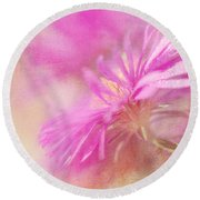 Dewy Pink Asters Round Beach Towel by Lois Bryan