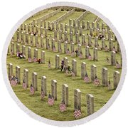 Dfw National Cemetery II Round Beach Towel