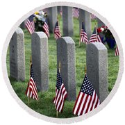 Dfw National Cemetery Round Beach Towel