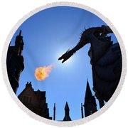 Diagon Alley Dragon Fire Round Beach Towel