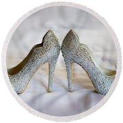 Diamante Wedding Shoes Round Beach Towel
