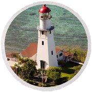 Diamond Head Lighthouse Honolulu Round Beach Towel