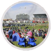 Diamond Jubilee Weekend At The Derby Horse Race On Epsom Downs  Round Beach Towel