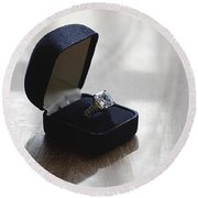 Diamond Ring On A Black Box Round Beach Towel