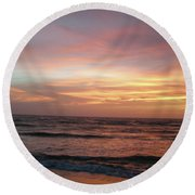 Diamond Shoals Sunset - Outer Banks Nc Round Beach Towel