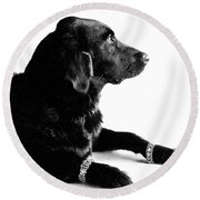 Diamonds Are A Dogs Best Friend Round Beach Towel