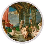 Diana And Actaeon Round Beach Towel