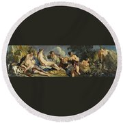Diana And The Nymphs Surprised By Actaeon Round Beach Towel