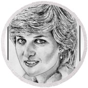 Diana - Princess Of Wales In 1981 Round Beach Towel