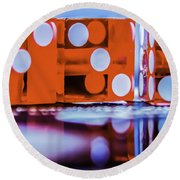 Dice Reflections Round Beach Towel