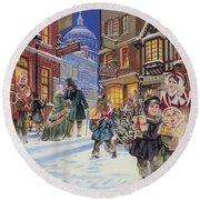 Dickensian Christmas Scene Round Beach Towel by Angus McBride