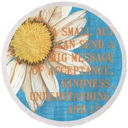 Dictionary Florals 4 Round Beach Towel
