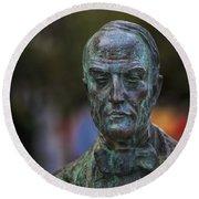 Diego Fernando Montanes Alvarez Statue Cadiz Spain Round Beach Towel