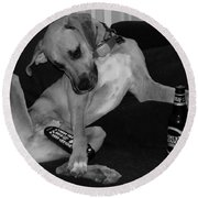 Diesel In Black And White Round Beach Towel
