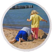Digging Deep Round Beach Towel
