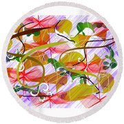 Digital Abstract 3 Round Beach Towel