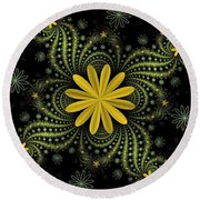 Digital Flowers Round Beach Towel