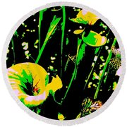 Digital Green Yellow Abstract Round Beach Towel