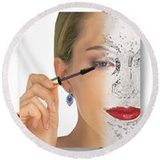 Abstract Make Up Round Beach Towel