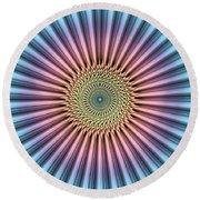 Digital Mandala Flower Round Beach Towel