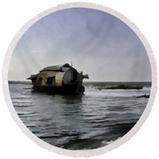 Digital Oil Painting - A Houseboat Moving Placidly Through A Coastal Lagoon Round Beach Towel