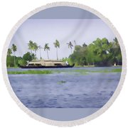 Digital Oil Painting - A Houseboat On Its Quiet Sojourn Through The Backwaters Of Allep Round Beach Towel