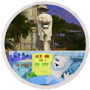 Digital Oil Painting - Statue Of The Merlion With A Banner Round Beach Towel