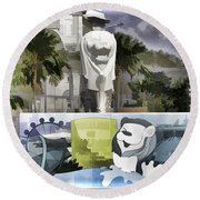 Digital Oil Painting - Statue Of The Merlion With A Banner Below The Statue And With Bu Round Beach Towel