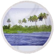 Digital Oil Painting - Water Rippling In The Coastal Lagoon Round Beach Towel