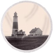 Digital Painting Lighthouse Round Beach Towel