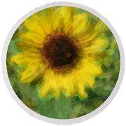Digital Painting Series Sunflower Round Beach Towel
