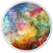 Digital Watercolor Abstract Round Beach Towel