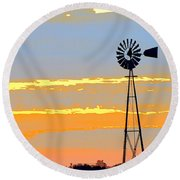 Digital Windmill-horizontal Round Beach Towel