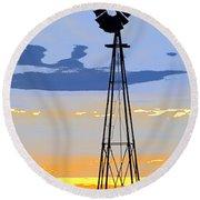 Digital Windmill-vertical Round Beach Towel
