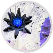 Digitally Altered Water Lily Round Beach Towel