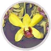 Digitised Orchids Round Beach Towel