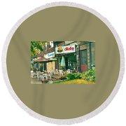 Dilallo Burger Diner Paintings Originalclassic Vintage Burger Joint St Henri St Catherine Cityscene  Round Beach Towel