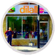 Dilallo Burger Notre Dame Ouest And Charlevoix  Montreal Art Urban Street Scenes Carole Spandau Round Beach Towel