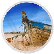 Dilapidated Boat At Ferragudo Beach Algarve Portugal Round Beach Towel