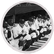 Dimaggio In Yankee Dugout Round Beach Towel by Underwood Archives