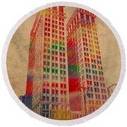 Dime Building Iconic Buildings Of Detroit Watercolor On Worn Canvas Series Number 1 Round Beach Towel