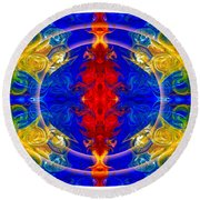 Dimensional Eyesight Abstract Living Artwork By Omaste Witkowski Round Beach Towel