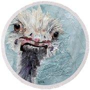 Dimples - An Ostrich Round Beach Towel